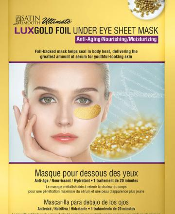 Satin Smooth gold foil anti-aging under eye sheet mask.
