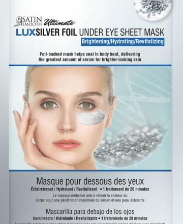 Satin Smooth silver foil brightening under eye sheet mask.